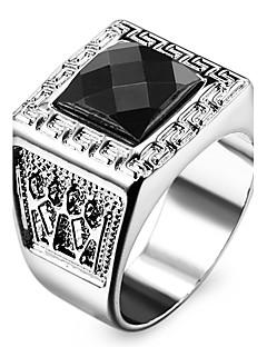 Homens Mulheres Maxi anel Amor Personalizado bijuterias Aço Inoxidável Acrílico Imitações de Diamante Quadrado Forma Geométrica Jóias