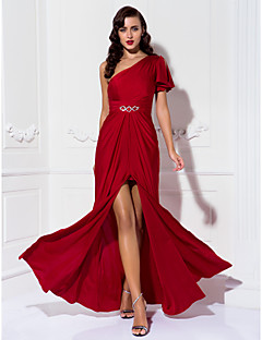 Sheath / Column One Shoulder Floor Length Jersey Prom Formal Evening Military Ball Dress with Beading Ruching by TS Couture®