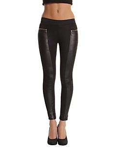 Obcisłe Jeansy Damskie Spodnie Jendolity kolor Niski stan PU / Bawełna / Polyester / Others Micro-elastic All Seasons