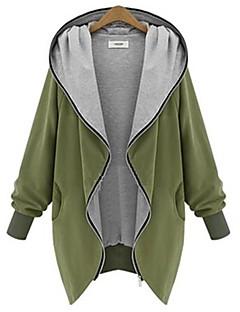 Dame I-byen-tøj Ensfarvet,Sort Grøn Langærmet Bomuld Vinter Medium Mikroelastisk