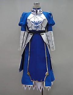 Inspireret af Fate/zero Saber video Spil Cosplay Kostumer Cosplay Suits / Kjoler Patchwork Blå Langt ÆrmeBrystplade / Kjole / Handsker /