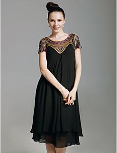 Schede / kolom scoop nek knie lengte chiffon vakantie jurk met kralen door ts couture®