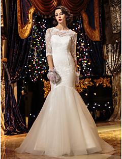 Sereia Ilusão Decote Cauda Escova Renda Vestido de casamento com Botão de LAN TING BRIDE®