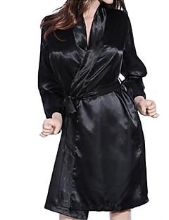 אישה חלוקים Nightwear אחיד שיפון תחרה שחור