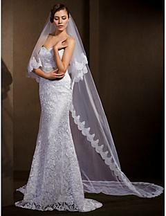 Véus de Noiva Duas Camadas Véu Catedral Borda com aplicação de Renda 102,36 em (260 centímetros) Tule Branco Marfim