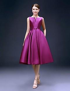 A-라인 핏 & 플레어 바투 넥 무릎 길이 새틴 칵테일 파티 홈 커밍 드레스 와 주머니 으로 FALILU