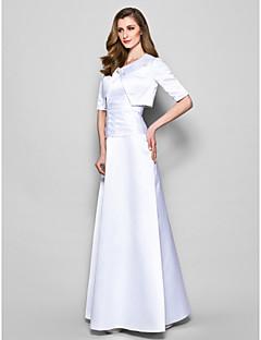 Γραμμή Α Με Κόσμημα Μακρύ Σατέν Φόρεμα Μητέρας της Νύφης - Κρυστάλλινη καρφίτσα Πλισέ με LAN TING BRIDE®