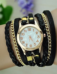 לנשים שעוני אופנה שעון צמיד קווארץ חבל קלוע PU להקה וינטאג' בוהמי שחור לבן כחול אדום חום ירוק ורוד סגול חום אדום ירוק כחול ורוד