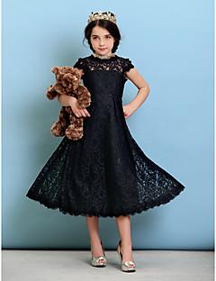 A-Şekilli Prenses Taşlı Yaka Diz Altı Dantelalar Çocuk Nedime Elbisesi ile Pileler tarafından LAN TING BRIDE®