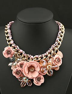 Γυναικεία Κρεμαστά Κολιέ Κρυστάλλινο Flower Shape Πετράδι Κρύσταλλο Κράμα Μοντέρνα Ευρωπαϊκό Κοσμήματα με στυλ Πεπαλαιωμένο ΠλεκτάΒυσσινί