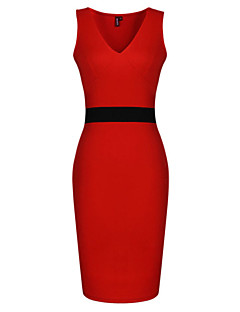 WILL Women's Sexy/Bodycon/Casual/Party/Work V-Neck Sleeveless Dresses (Cotton)