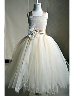 Γραμμή Α Μέχρι τον αστράγαλο Φόρεμα για Κοριτσάκι Λουλουδιών - Μετάξι Αμάνικο Τετράγωνη με