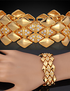 Dame Kæde & Lænkearmbånd Armbånd Vintage Armbånd kostume smykker Flerlags luksus smykker Krystal Rhinsten Platin Belagt Guldbelagt 18K
