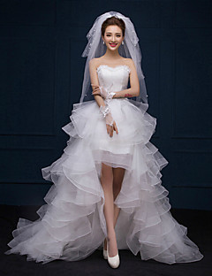 A-Line Sweetheart Asymmetrical Lace Wedding Dress with Lace Ruffle by AMGAM