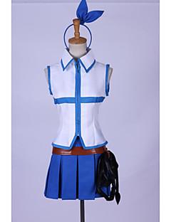 Inspiré par Fairy Tail Lucy Heartfilia Manga Costumes de Cosplay Costumes Cosplay Mosaïque Sans ManchesHaut Jupe Casque Accessoires de