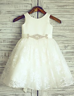 πριγκίπισσα γόνατο κορίτσι φόρεμα λουλουδιών - δαντέλα σατέν αμάνικο λαιμό σέσουλα με κορδέλα από thstylee