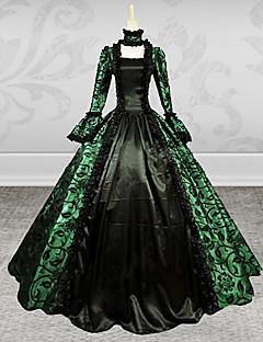 Yksiosainen/Mekot Gothic Lolita Steampunk® Cosplay Lolita-mekot Vihreä Vintage Runoilija Pitkähihainen Pitkä Pituus Leninki vartenPitsi