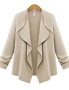 Damen Solide Übergröße Mantel,Herbst Asymmetrisch Langarm Blau / Rosa / Gelb Dünn Polyester
