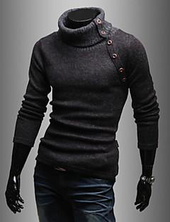 Masculino Padrão Pulôver,Casual Simples Sólido Gola Alta Manga Longa Algodão Poliéster Inverno Média Com Stretch