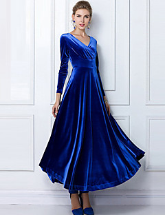 Damen Kleid-Party/Cocktail / Übergröße Solide Rundhalsausschnitt Maxi Langarm Blau / Rot / Schwarz / Grün / Lila Andere Herbst