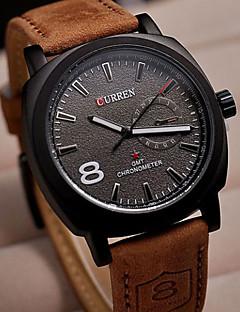 CURREN Herren Armbanduhr Quartz Leder Band Braun Weiß Schwarz