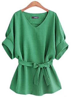 Damen Solide Einfach Übergröße Lässig/Alltäglich Bluse,V-Ausschnitt Sommer Baumwolle Undurchsichtig