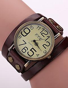 לנשים שעוני אופנה שעון צמיד קווארץ עור להקה וינטאג' שחור לבן כחול אדום תפוז חום ירוק קפה חום אדום ירוק כחול