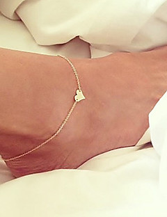 בגדי ריקוד נשים תכשיט לקרסול/צמידים ציפוי זהב עיצוב מיוחד אופנתי סגנון מינימליסטי תכשיטים Heart Shape תכשיטים תכשיטים עבור Party יומי חוף