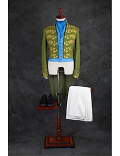 Suits Moderno Colarinho Mandarim Sem Butões Misto de Algodão Desenhos 4 Peças Verde Nenhum Duas Pregas Duas Pregas Bordados