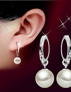 Dames Druppel oorbellen Parel Basisontwerp Birthstones Geboortestenen Modieus Eenvoudige Stijl Kostuum juwelen Parel Sterling zilver Bal