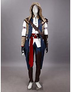Inspireret af Assassin's Creed Connor video Spil Cosplay Kostumer Cosplay Suits Patchwork HvidKappe / T-shirt / Bukser / Hat / Armbind /