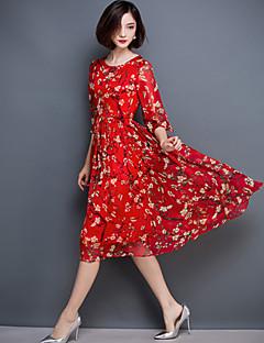 여성 쉬폰 스윙 드레스 데이트 플러스 사이즈 정교한 디테일 플로럴,라운드 넥 무릎길이 반 소매 실크 여름 중간 밑위 신축성 없음