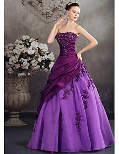 Salón Princesa Sin Tirantes Hasta el Suelo Tafetán Evento Formal Vestido con Cuentas Apliques Recogido Lateral por XFLS