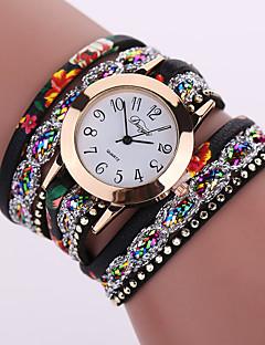 לנשים שעוני אופנה שעון צמיד קווארץ עור להקה פרח שחור לבן כחול תפוז חום ורוד שחור פוקסיה אדום ירוק כחול בהיר