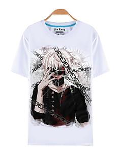 Innoittamana Tokio Ghoul Ken Kaneki Anime Cosplay-asut Cosplay T-paita Painettu Lyhythihainen Toppi Käyttötarkoitus Miehet