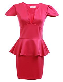 Women's Club Sexy Sheath Dress,Solid Deep V Above Knee Short Sleeve Blue / Pink / White / Black / Orange All Seasons