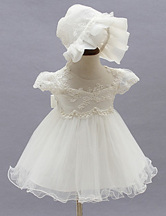 Baby Party/Cocktail Dress Blomstret Polyester Alle årstider Hvit