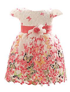 Baby Fest/Cocktail Kjole Blomstret Polyester Alle årstider Blå Rød