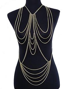בגדי ריקוד נשים תכשיטי גוף שרשרת בטן רתמתי שרשרת שרשרת גוף / בטן שרשרת סקסית ארופאי מוצלב שכבות מרובות תכשיטים ציפוי זהב תכשיטים תכשיטים
