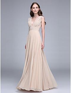 מעטפת \ עמוד צווארון וי עד הריצפה שיפון שמלה לשושבינה  עם תד נשפך סלסולים על ידי LAN TING BRIDE®