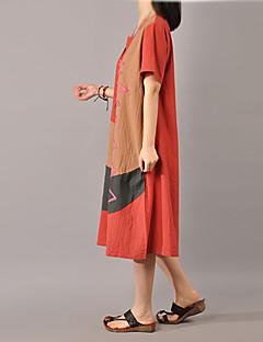 Nais- Löysä Mekko Yksinkertainen Rento/arki,Color Block Pyöreä kaula-aukko Midi Lyhythihainen Valkoinen / Ruskea / Vihreä / Oranssi