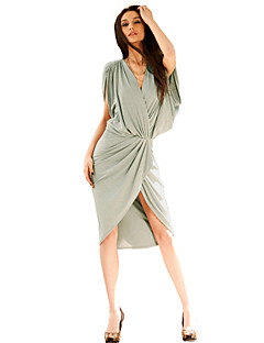 Women's Going out Sexy / Vintage Dress,Solid Above Knee / Asymmetrical Sleeveless Pink / Gray Polyester / Spandex All Seasons