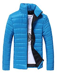 コート レギュラー パッド入り メンズ,カジュアル/普段着 ソリッド コットン ポリエステル 中綿なし 長袖