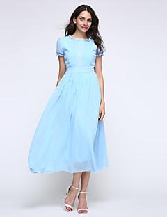 Sukienka - Obuwie damskie - Guzik - Midi - Krótki rękaw - Okrągły dekolt