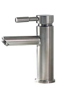 現代風 組み合わせ式 滝状吐水タイプ with  セラミックバルブ シングルハンドルつの穴 for  ブラッシュドニッケル , バスルームのシンクの蛇口