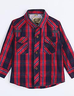 Jungen Hemd-Lässig/Alltäglich Hahnentrittmuster Baumwolle Herbst Rot