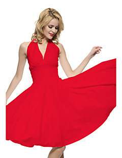 Maggie Tang Women's Halter 50s Vintage Rockabilly Marilyn Pinup Cos Party Swing Dress,Plus Size