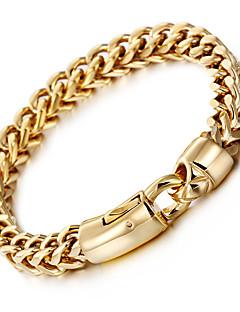 Homens Pulseiras em Correntes e Ligações Moda bijuterias Aço Inoxidável Chapeado Dourado 18K ouro Forma Geométrica Jóias Para Festa