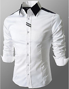 Men's Casual/Daily Simple All Seasons Shirt,Solid Color Block Classic Collar Long Sleeves Cotton Medium