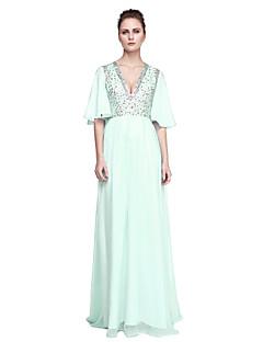 A-라인 V-넥 바닥 길이 쉬폰 튤 프롬 포멀 이브닝 드레스 와 비즈 으로 TS Couture®